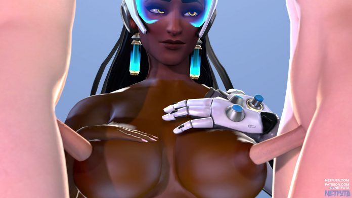 Symmetra takes two hard cocks with her nipples