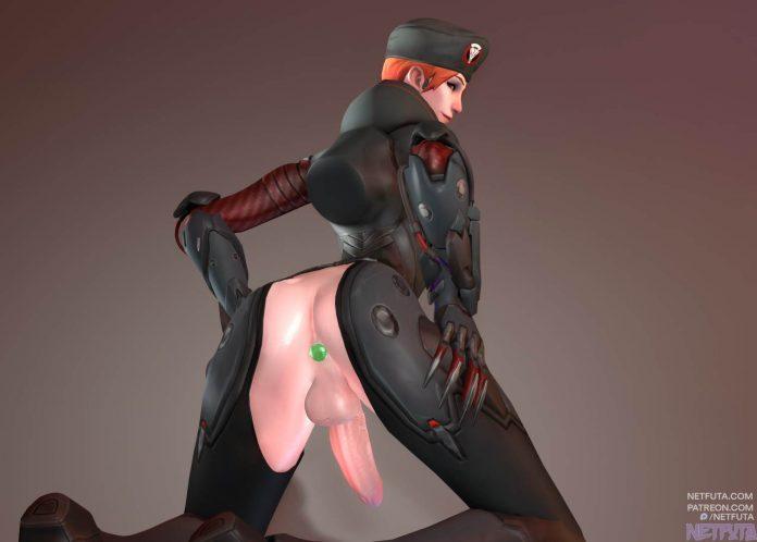 Moira flaunts her big futanari cock