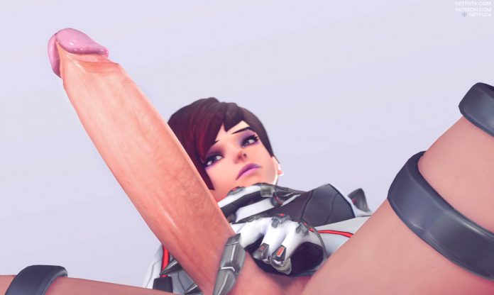 Sombra gives you a peek of her long penis