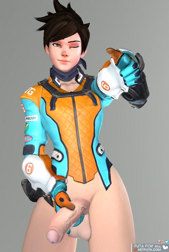 Tracer holds her huge futanari cock