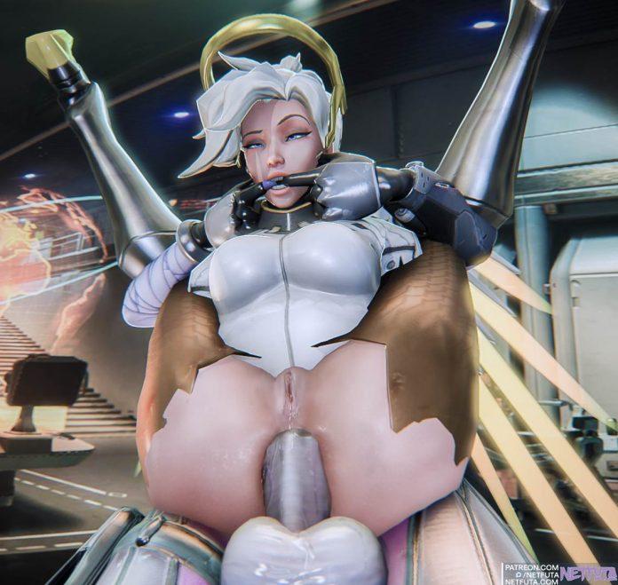 Mercy gets a huge futanari cock inside her